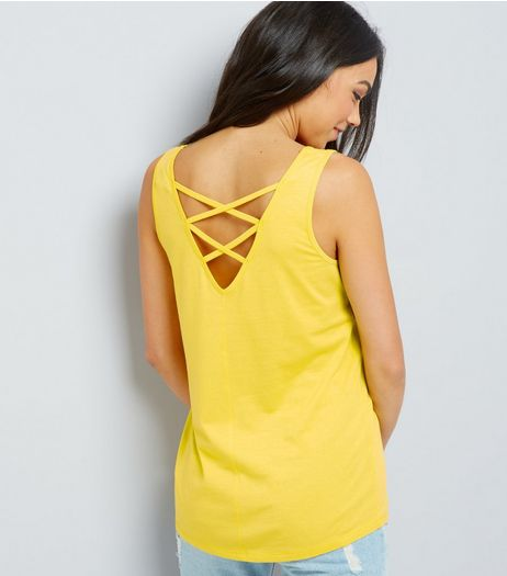 Yellow Lattice Back Vest | New Look