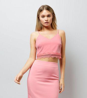 Pink Lace Trim Bralet