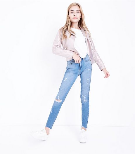 Teens Blue Ripped Skinny Jeans | New Look
