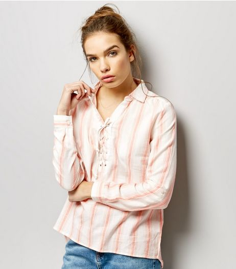 Apricot White Stripe Eyelet Trim Lace Up Top  | New Look