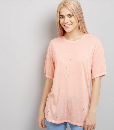 Bright Orange Ripped Short Sleeve T-Shirt  | New Look