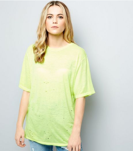 Yellow Ripped Short Sleeve T-Shirt  | New Look