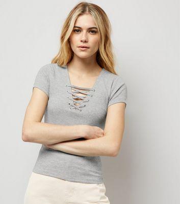 Grey Lattice Front Short Sleeve T-Shirt