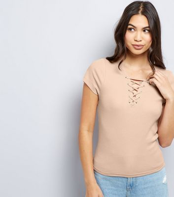 Light Brown Lattice Front T-Shirt