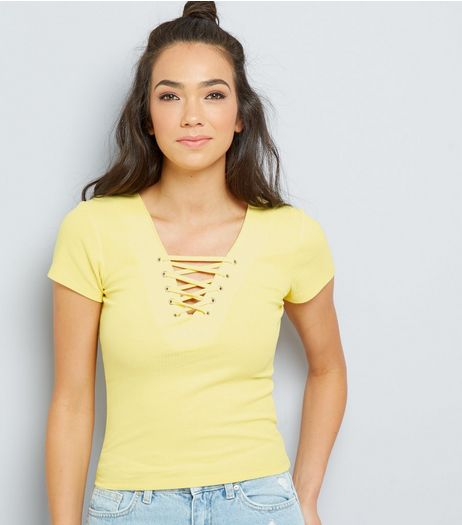 Yellow Lattice Front Short Sleeve T-Shirt | New Look