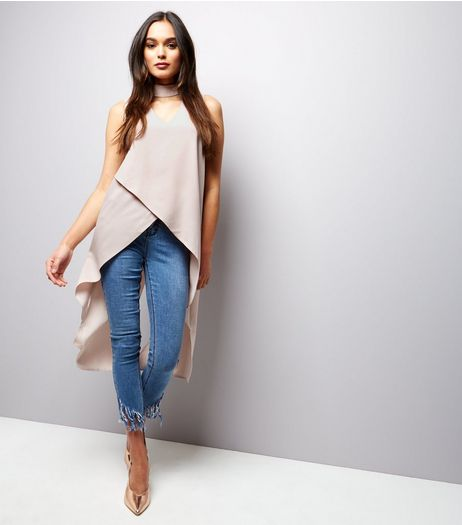 Apricot Stone Choker Neck Wrap Front Dip Hem Top | New Look