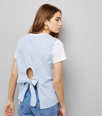 White Colour Block Pinstripe Print Tie Back