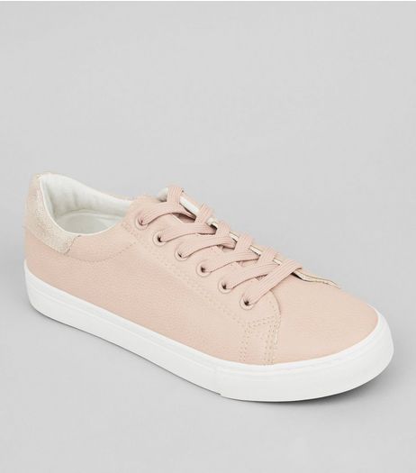 Pink Metallic Back Trainers | New Look