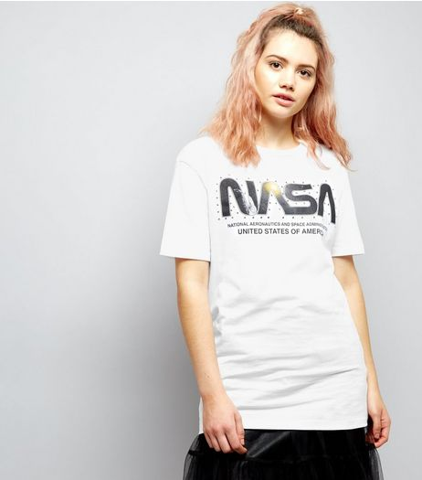 White NASA Print Short Sleeve T-Shirt | New Look