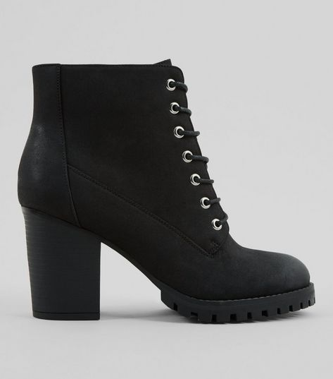 Wide Fit Black Lace Up Heeled Biker Boots | New Look
