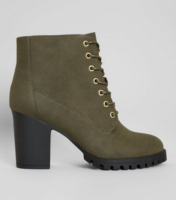 Wide Fit Khaki Lace Up Heeled Biker Boots | New Look