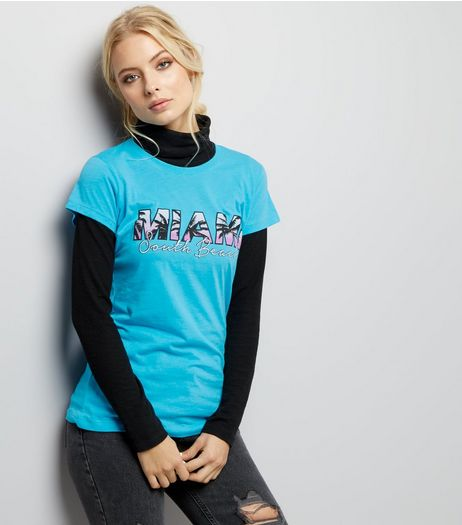Turquoise Miami Print T-Shirt | New Look