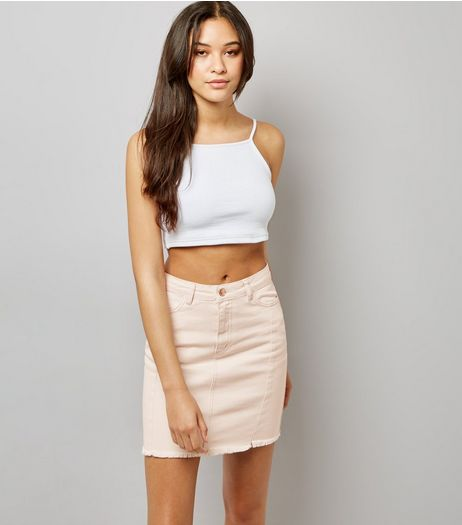 Pink Denim Frayed Hem Skirt | New Look