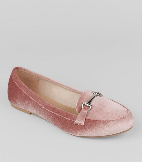 Wide Fit Pink Velvet Loafers | New Look