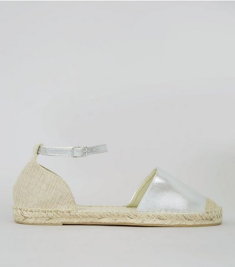 Wide Fit Silver Espadrille Sandals | New Look
