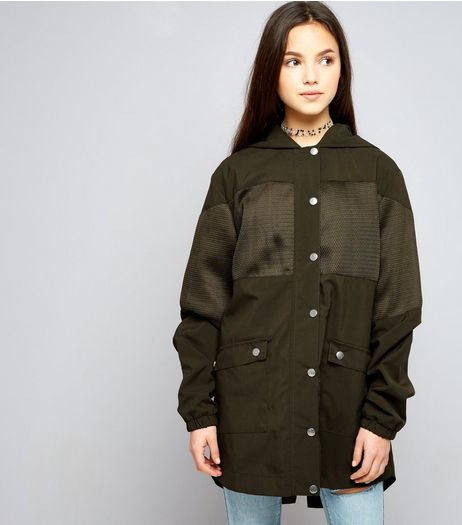 Teens Khaki Mesh Panel Parka | New Look