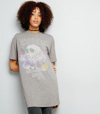 Grey Exodus Skull Print Rock Band Longline T-Shirt