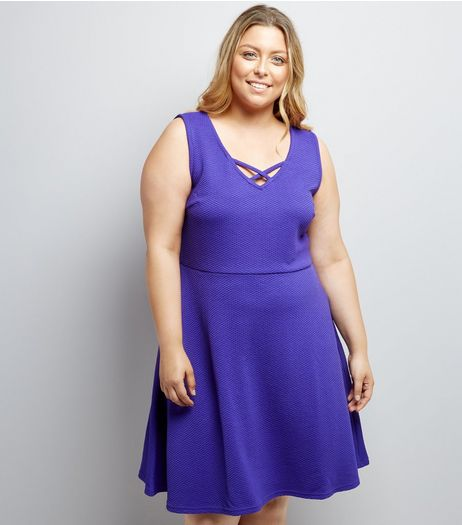 Curves Purple Lattice Front Jacquard Skater Dress | New Look