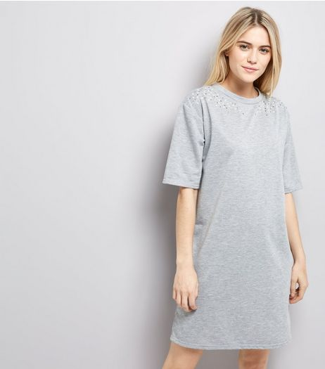 Grey Pearl Studded T-Shirt Dress | New Look
