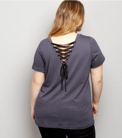 Curves Grey Lace Up Back T-Shirt | New Look