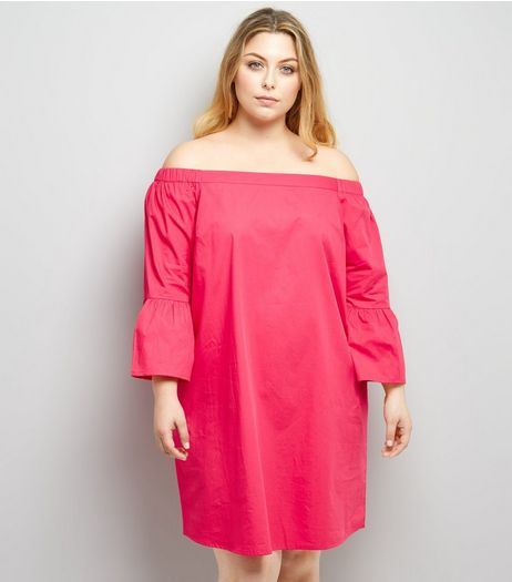 Curves Pink Bardot Neck Tunic Dress | New Look