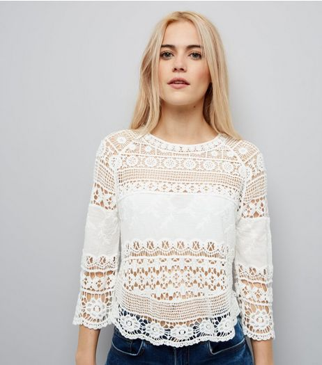 Cream Crochet 3/4 Sleeve Top | New Look