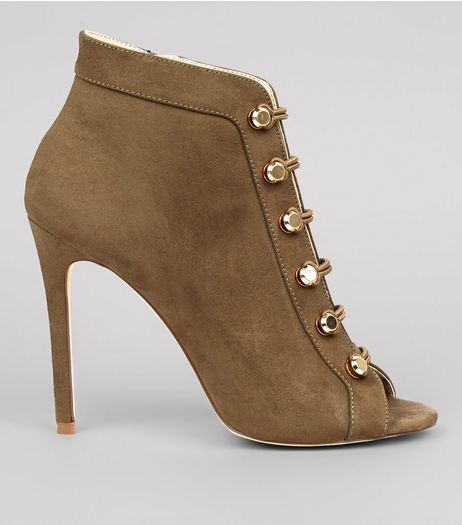 Khaki Suedette Military Peep Toe Heels | New Look