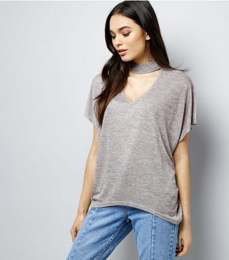 Blue Vanilla Grey Gem Studded Choker Neck T-Shirt | New Look