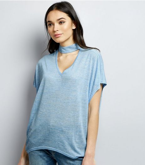 Blue Vanilla Blue Gem Studded Choker Neck T-Shirt | New Look