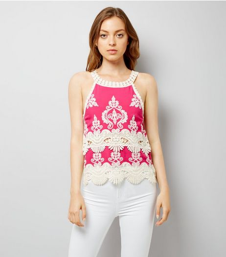 Pink Crochet Trim Top | New Look
