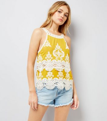 Yellow Crochet Lace Trim Crop Top