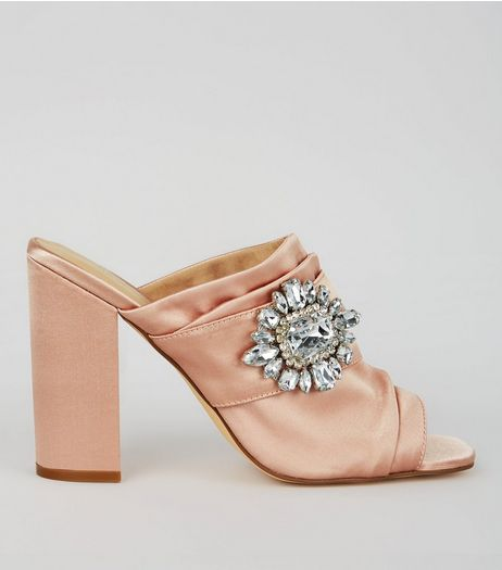 Pink Satin Chunky Crystal Embellished Block Heels | New Look