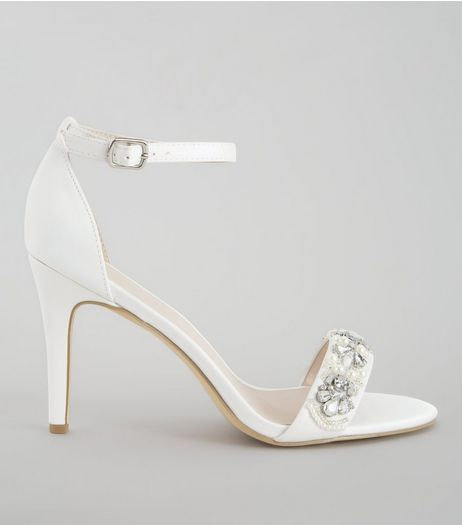 Ivory Satin Embellished Strap Heels | New Look