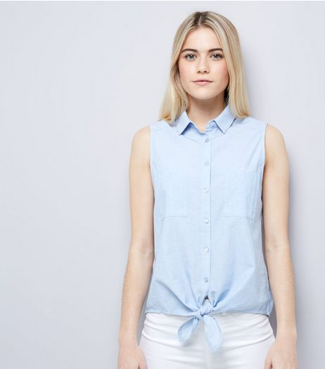 Blue Sleeveless Tie Front Shirt  | New Look