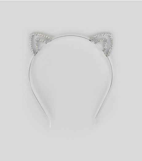 Silver Diamante Cat Ears | New Look