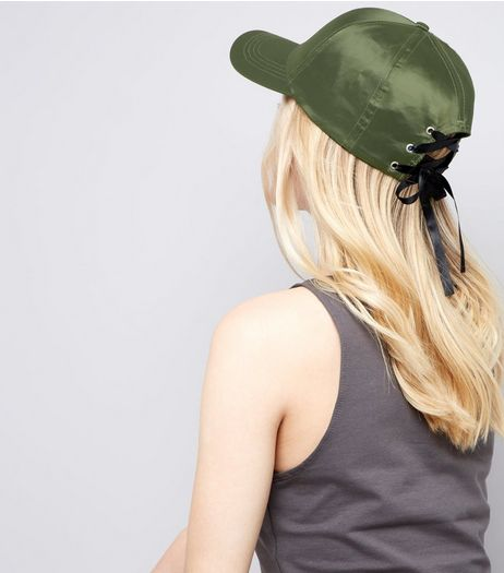 Khaki Satin Lace Up Eyelet Cap | New Look