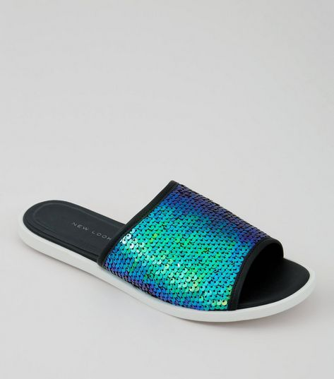 Wide Fit Blue Sequin Sliders | New Look