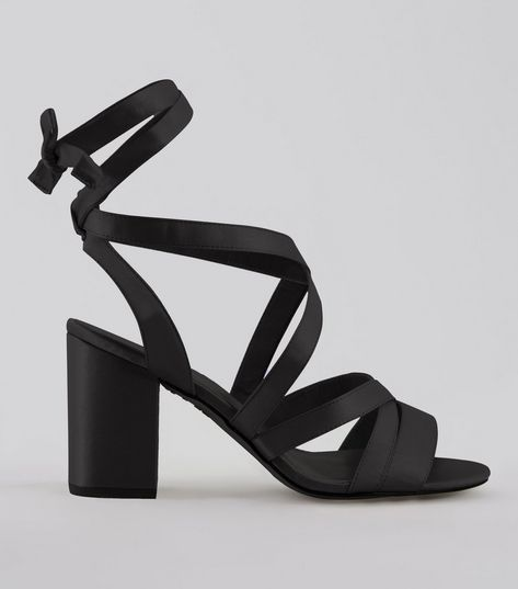 Wide Fit Black Satin Ankle Tie Heels | New Look