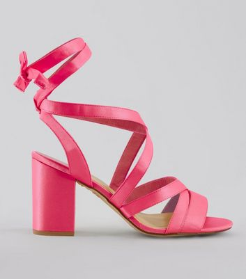 Wide Fit Pink Satin Ankle Tie Heels | New Look