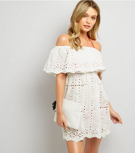 White Cut Out Detail Bardot Dress | New Look