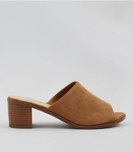 Wide Fit Tan Suedette Mules | New Look