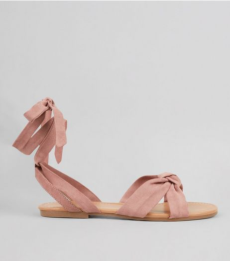 Pink Ankle Tie Sandals | New Look