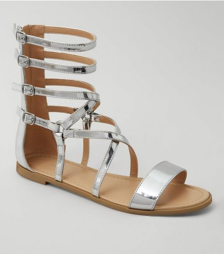 Silver Metallic Gladiator Sandals | New Look