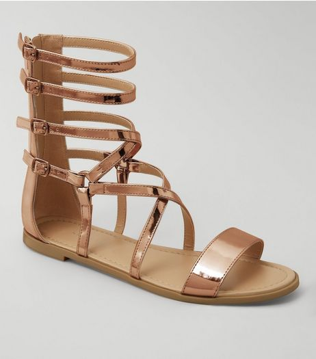 Rose Gold Metallic Gladiator Sandals | New Look