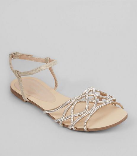 Nude Pink Embellished Sandals  | New Look