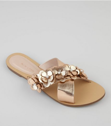 Rose Gold Flower Embellished Cross Strap Sandals | New Look