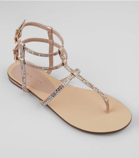 Rose Gold Diamante Stud Gladiater Sandals | New Look