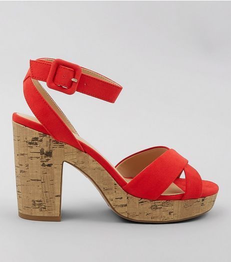 Red Suedette Cross Strap Cork Sole Heels | New Look