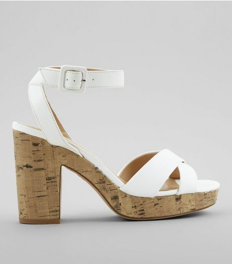 White Cross Strap Cork Block Heels | New Look