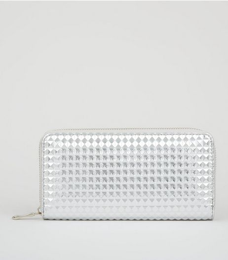 Silver Textured Leather-Look Zip Around Purse  | New Look